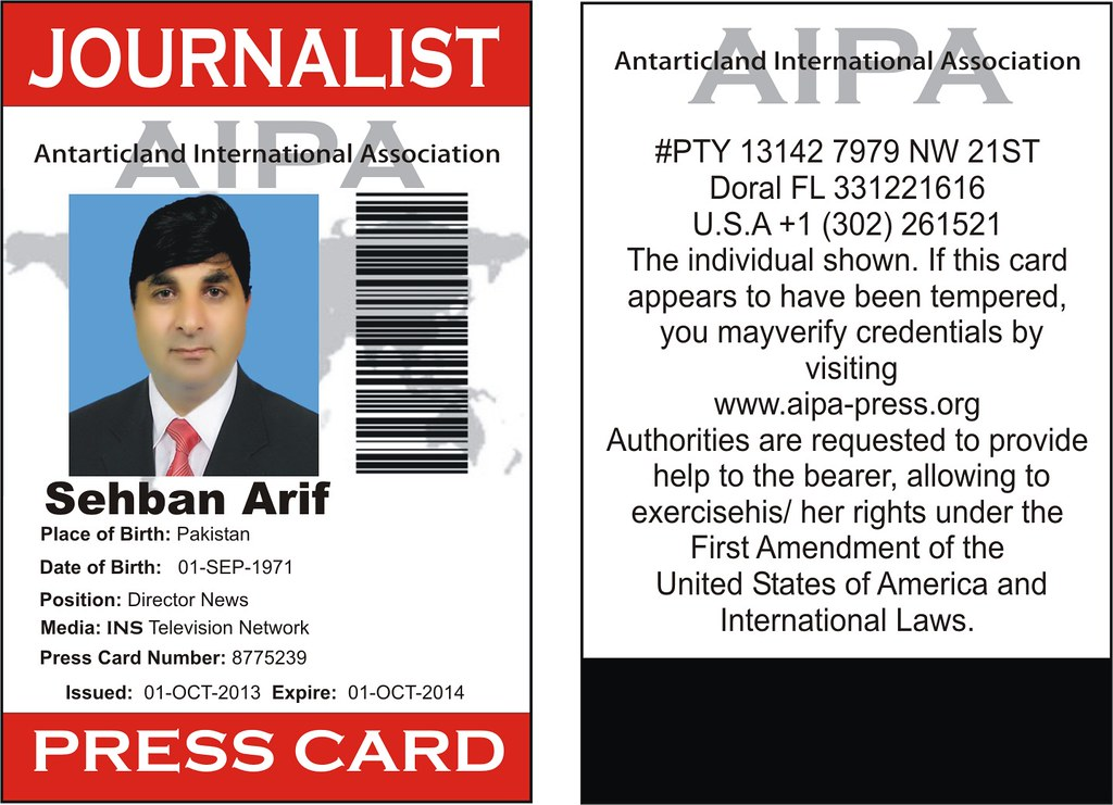 Press Iapc Arif Of Pakistan Association International Flickr Journalist Card Sehban Journalists Press…