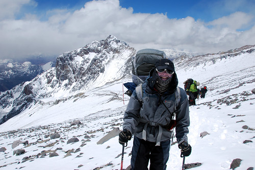 Me on the False Polish Glacier traverse, with Ameghino behind (Photo: Augusto Ortega) | by markhorrell