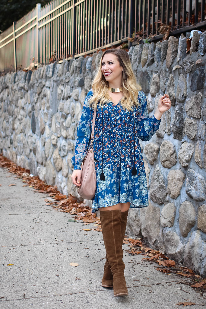 9e0d0e31f86 ... Blue Boho Dress Vince Camuto Melaya Over the Knee Bark Suede Boots  Blush Hobo Bag Fall