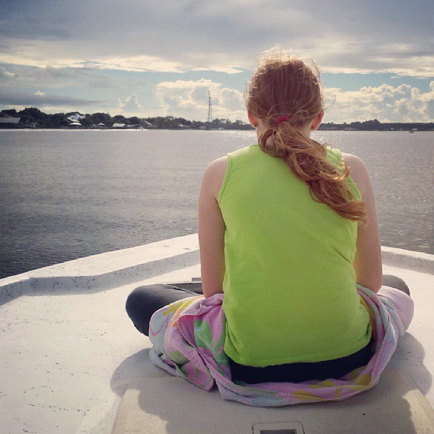 Morning boat ride.  #boat #water #girl #themomentschallenge