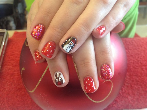 Gel polish on natural nails with Xmas nail art | by Eye Candy Nails Nic Senior