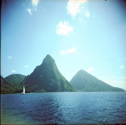 sea mountains boat holga xpro fuji carribean provia stlucia pitons snapshop