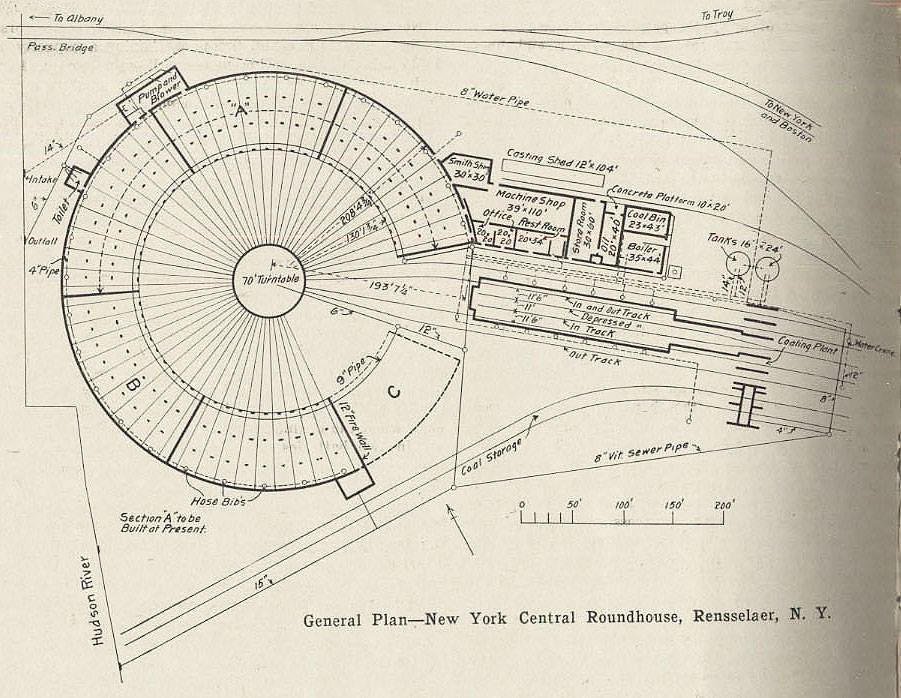 New York Central Roundhouse plans (Rensselaer, NY) To the ... Railroad Roundhouse Plans on railroad shops, on30 track plans, walthers track plans, 4x8 ho track plans, railroad roundhouses chicago, railroad yards in chicago, railroad structure plans, lionel train track layout plans, o gauge turntable plans, railroad water tower plans, railroad roundhouses missouri, railroad engine shed plans, ho scale turntable plans, railroad yard design, railroad turntable, railroad stations, railroad tracks, railroad roundhouses in ohio,