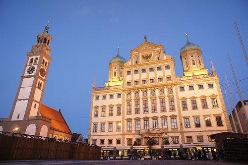 building architecture night germany bavaria townhall renaissance augsburg bavarian