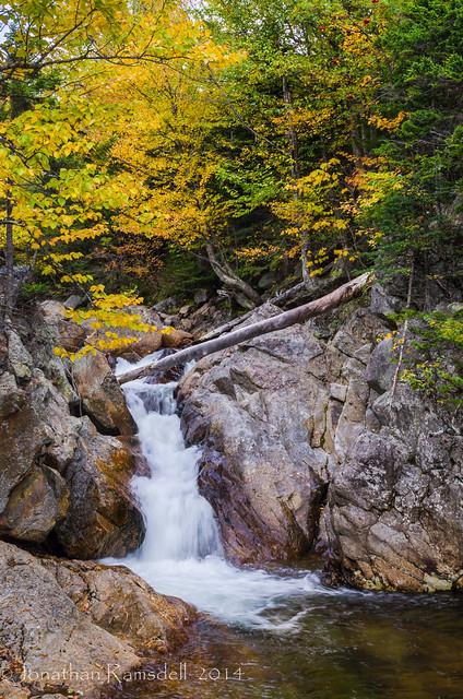 Log and falls Glen Ellis River