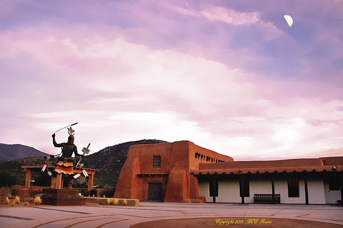 "plaza sunset sculpture moon mountains southwest art statue landscape twilight desert dusk nativeamerican museums ""new kachina ""santa ""golden mexico"" ""magic fe"" hour"""