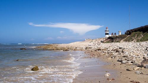 lighthouse beach clouds southafrica coast olympus blueskies easterncape omd portelizabeth caperecife em5 olympus17mmf18