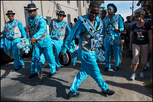 Black Men of Labor Social Aid and Pleasure Club members dance in the streets during their annual parade on October 23, 2016. Photo by Ryan Hodgson-Rigsbee rhrphoto.com