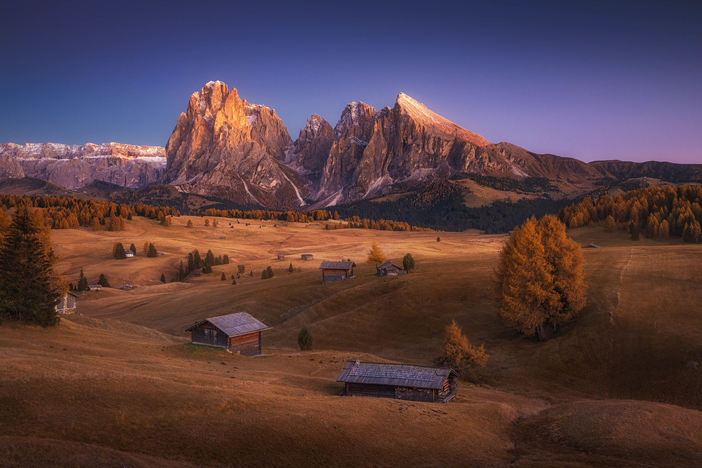 The Peaceful Valley Alpe Di Siusi In Autumn During