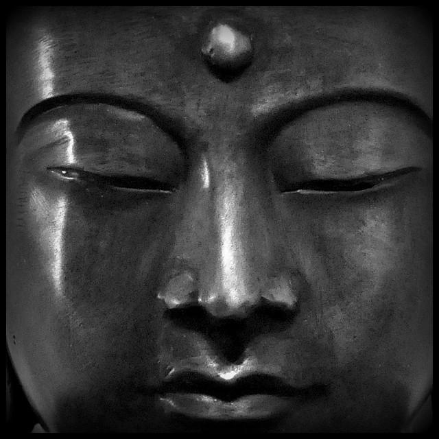 A Meditative Face of Buddha in Black & White