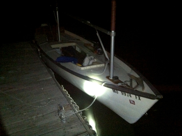 Stockton Lake - Heading out for my first overnight solo trip on the Sea Pearl 21. I only intended to row out and find a cove for the night, but the moon was bright enough to sail by.