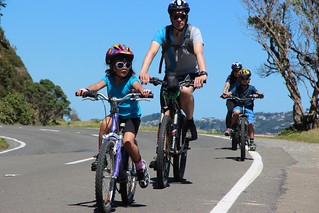 A family take in the car free environment