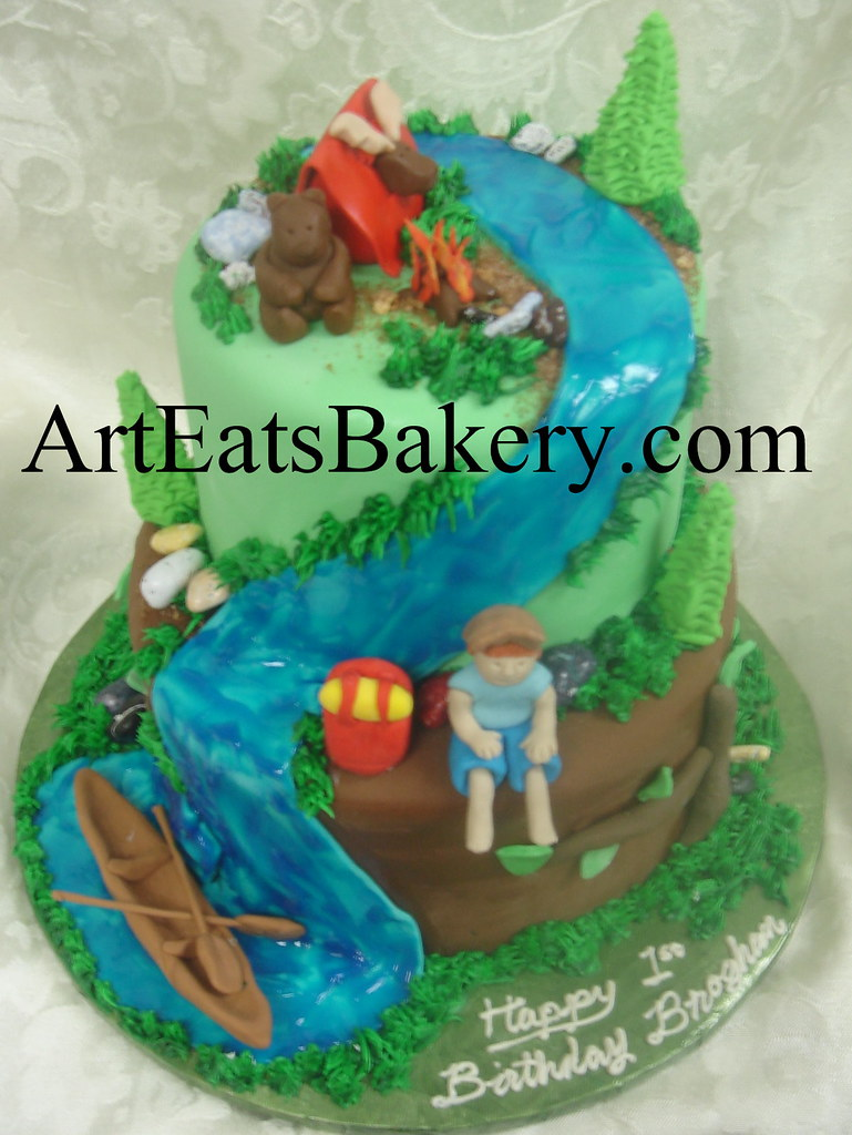Brilliant Boys 2 Tier Camping Birthday Cake Design With Edible Cano Flickr Personalised Birthday Cards Cominlily Jamesorg