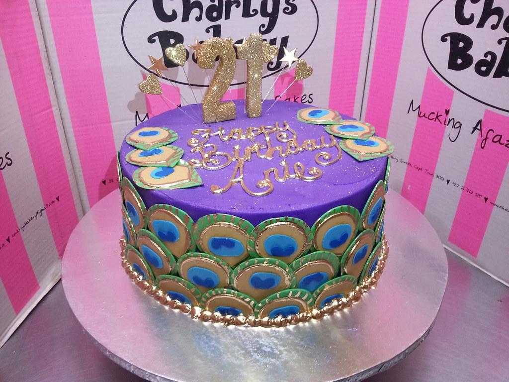 Super Peacock Themed Birthday Cake Charlys Bakery Flickr Personalised Birthday Cards Veneteletsinfo