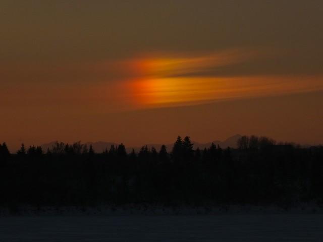 -27 C Sunset Calgary - Sundog over Moose Mountain