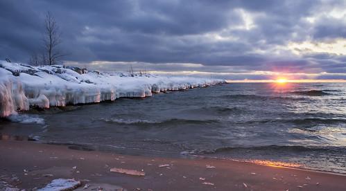 winter sun snow ice nature water lakemichigan muskegon muskegonstatepark