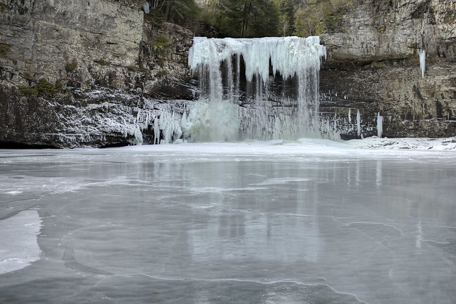 Cane Creek Falls frozen, Fall Creek Falls State Park, Van Buren County, Tennessee