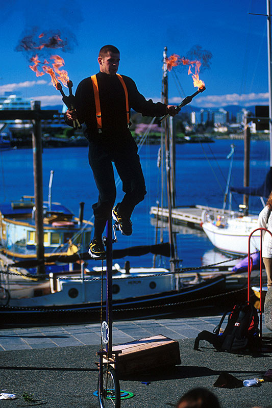 Street Performer in Victoria, Vancouver Island, British Columbia, Canada