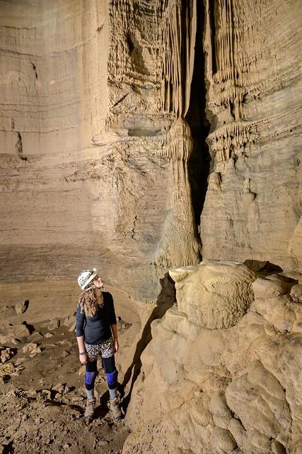 Nicole Blanton, flowstone, Brewington Cave, Jackson County, Tennessee