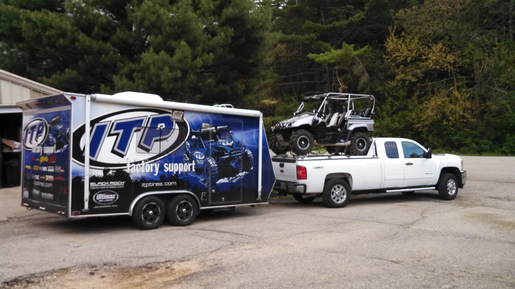 Truck Wheels And Tires >> Stretched Yamaha Rhino Atop UTV Hauler on Silverado Pullin ...