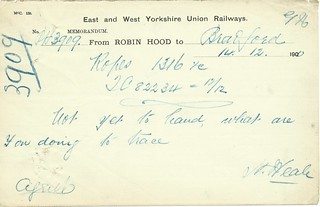 East and West Yorkshire Union Railway Memo of 1900   by ian.dinmore