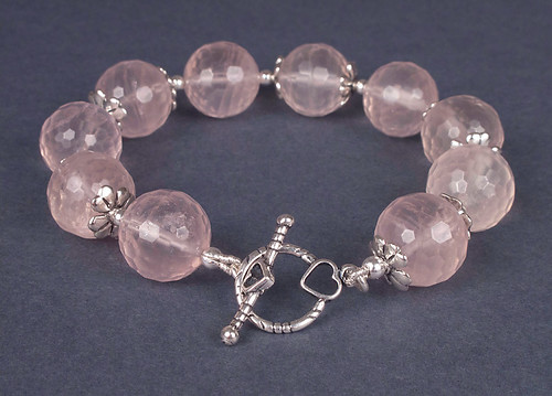 Rose quartz and sterling silver bracelet | by juhanson