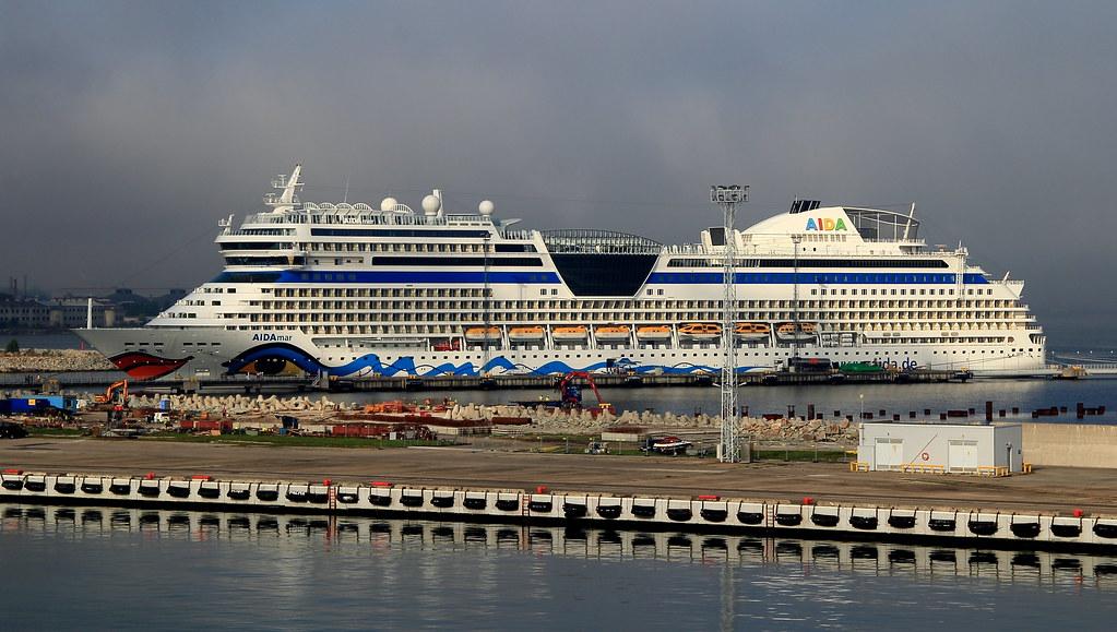 An AIDA Cruise Ship docked in Tallinn, Estonia