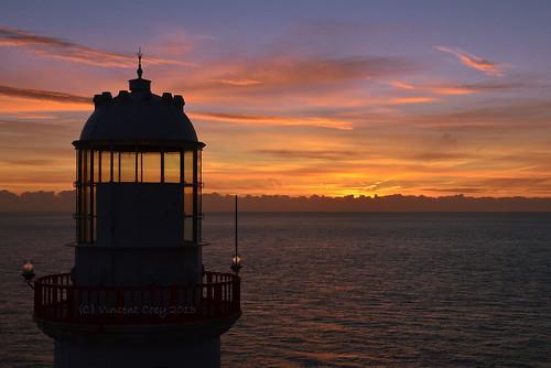 county ireland sea sky irish sun lighthouse water clouds sunrise town nikon south wicklow d5100
