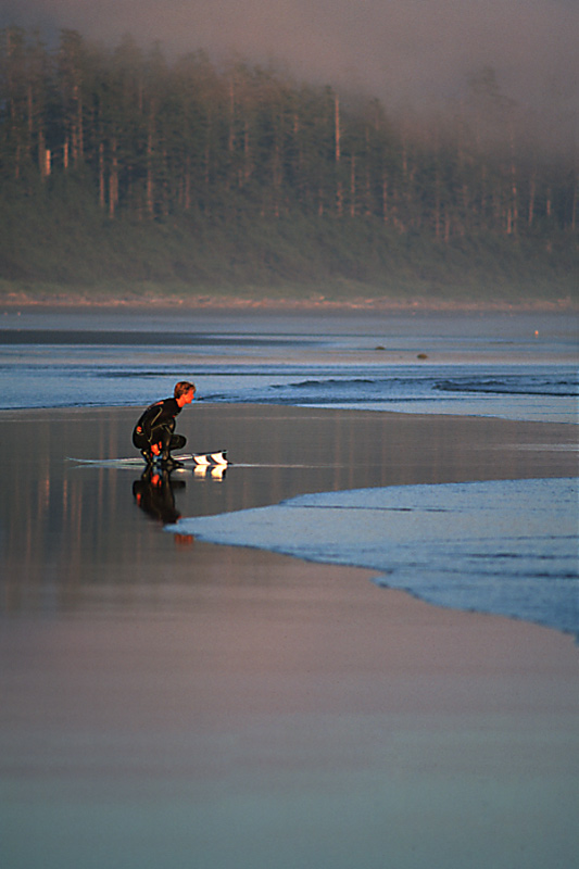 Surfing in Long Beach on the West Coast of Vancouver Island, British Columbia, Canada