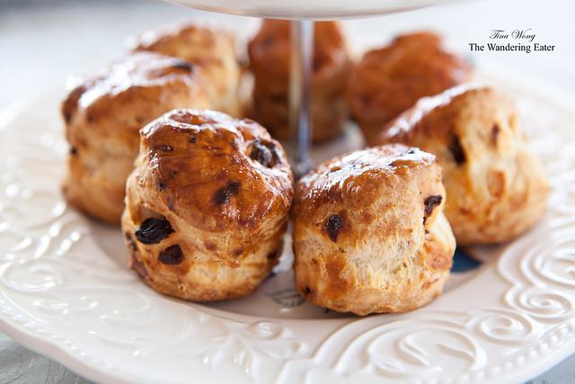 Tier of raisin scones