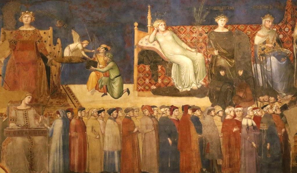 Sala Del Consiglio Dei Nove Siena.Ambrogio Lorenzetti 1290 1348 Allegoria Ed Effetti Del