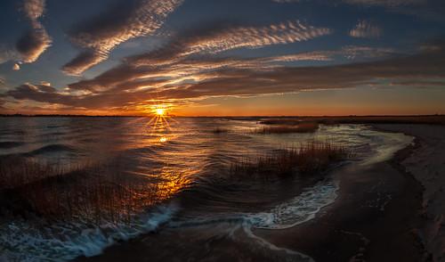 morning sunrise shore sea