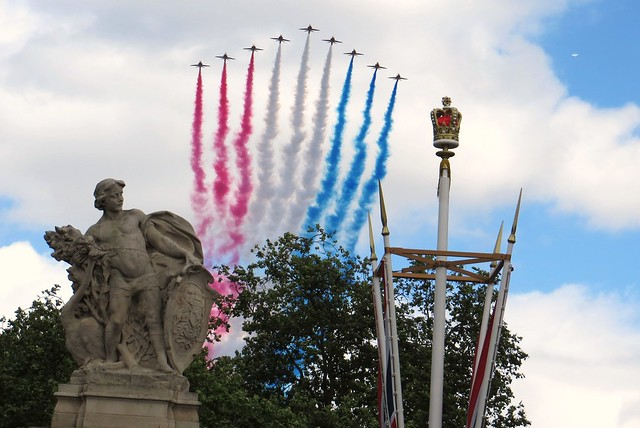 Red Arrows Queens Birthday Flypast Buckingham Palace 15 June 2013