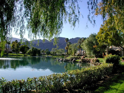 indianwells california lawn pond channel reflection