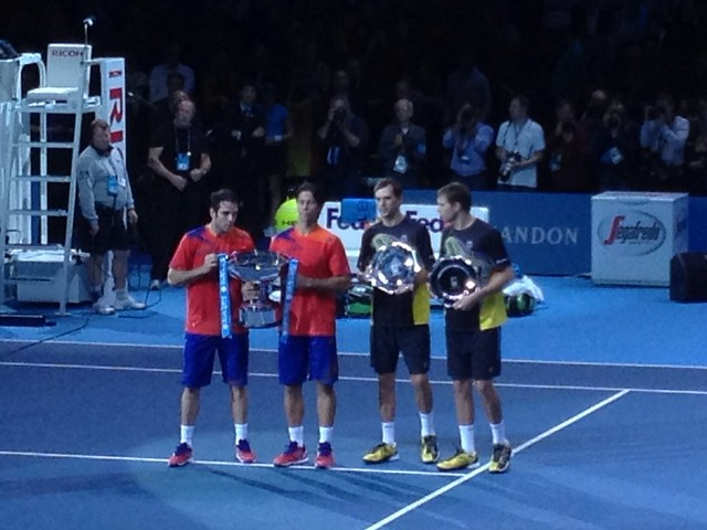 Bob and Mike Bryan, runners up at the ATP World Tour Finals Doubles 2013, and champions Fernando Verdasco and David Marrero