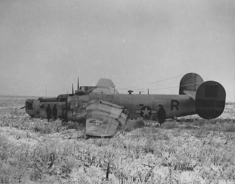US bomber B-24 Liberator of USAAF 465th Bomber Group