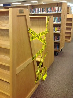 Caution! Chardon Library is making room for more books!