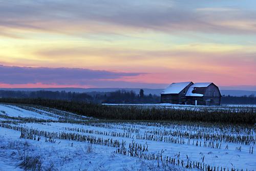 winter sunset snow clouds cornfield barns ilobsterit