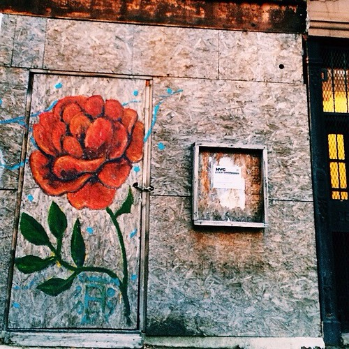 Roses are red. #graffiti #guerillaart #nycadventure #cobblehill | by GirlOnTheBand