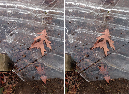frozen hole holes layer leavesicecoldstereostereoscopiccrossview