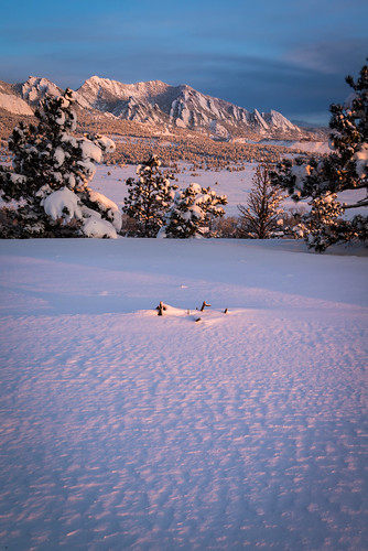 snow sunrise colorado day boulder flatirons greenmountain