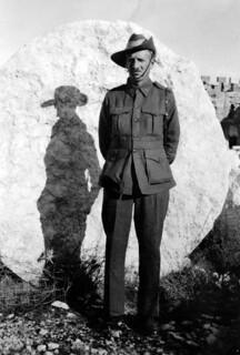 Nov 1942 - Bob Elliott (Australian 2/4th Anti Malaria Control Unit) in front of a fallen pillar of the Temple of the Sun at Baalbek, Syria (now Lebanon)