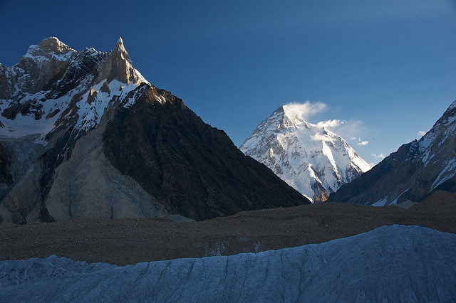 K2 and Marble peak from Concordia, Baltoro glacier
