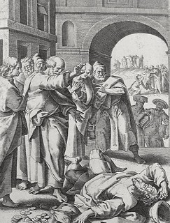 Luke in the Phillip Medhurst Collection 598 The deaths of Ananias and Sapphira Acts 5:5 De Vos