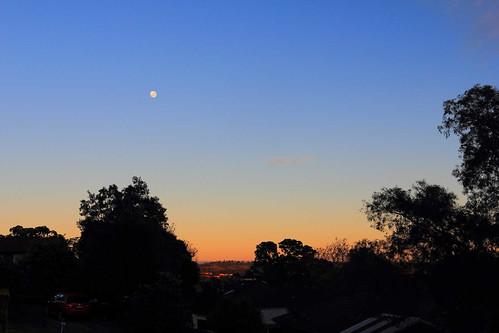 moon dawn sunrise horizon