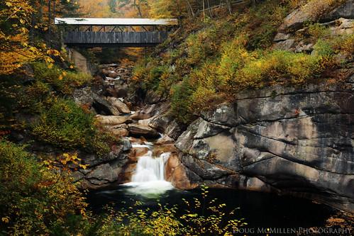 autumn fall newhampshire fallfoliage coveredbridge franconianotchstatepark
