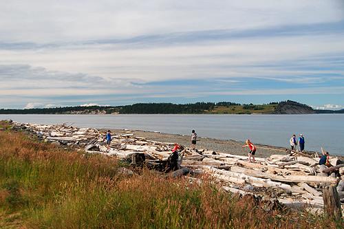 James Island viewed from Island View Beach Park, Saanichton, Saanich Peninsula, Victoria, Vancouver Island, British Columbia, Canada