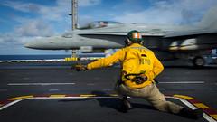 Lt. Daniel Didier directs an F/A-18C Hornet from Strike Fighter Squadron (VFA) 34 during flight operations aboard USS Carl Vinson (CVN 70), Oct. 31. (U.S. Navy/PO3 Matthew Brown)