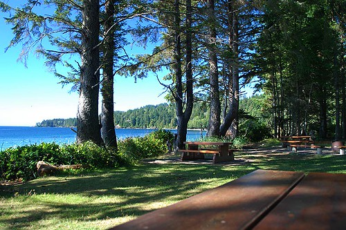 Picnic Site at French Beach Park, South Coast Vancouver Island, British Columbia