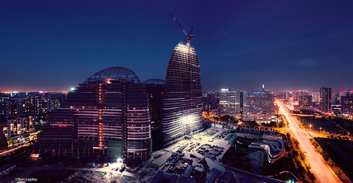 zahahadid beijing china wanjing soho pentax67 film mediumformat peaks under construction above night evening sunset crane steel concrete scaffolding ccdi flickr12days
